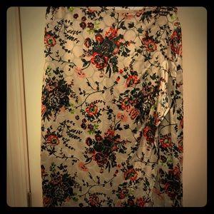 Anthropologie Velvet Floral Pencil skirt